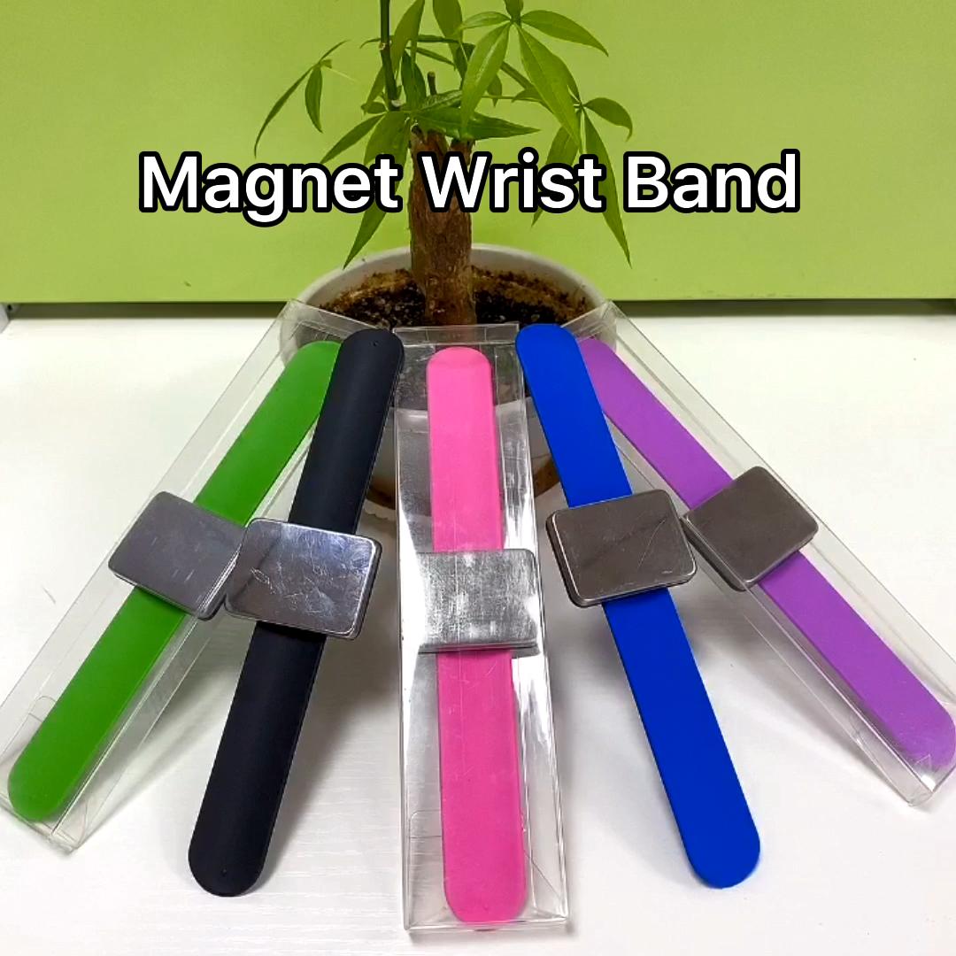 Profesyonel salon manyetik bilezik takım tutucu metal pimler klipleri kauçuk bilek bandı kayışı