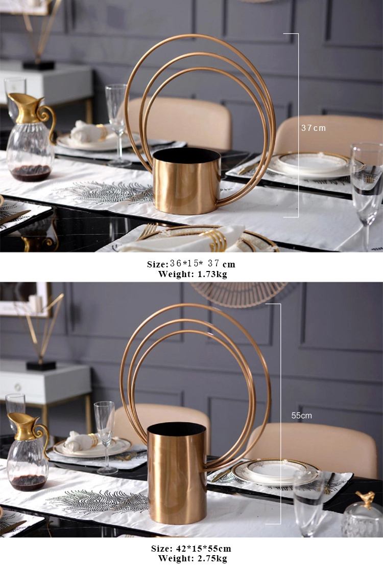 Modern iron metal center pieces decoration flower unbreakable vase marriage centre vases stands for wedding