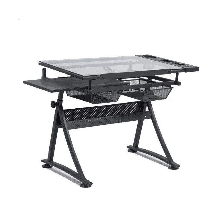 Glass Top industrial drafting table adjustable for home school drawing desk