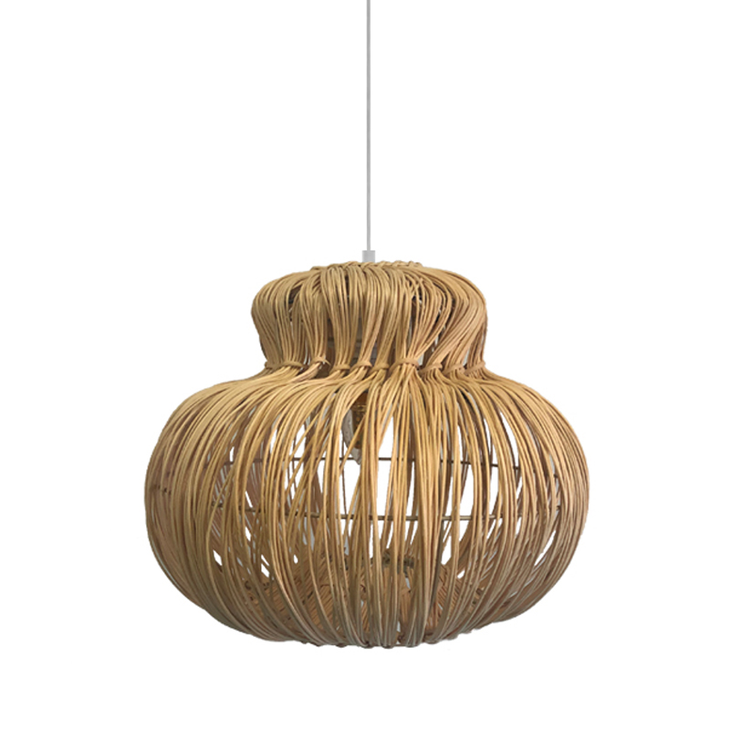 Chinese vintage handmade wooden round rattan chandelier pendant lampshade for bedroom