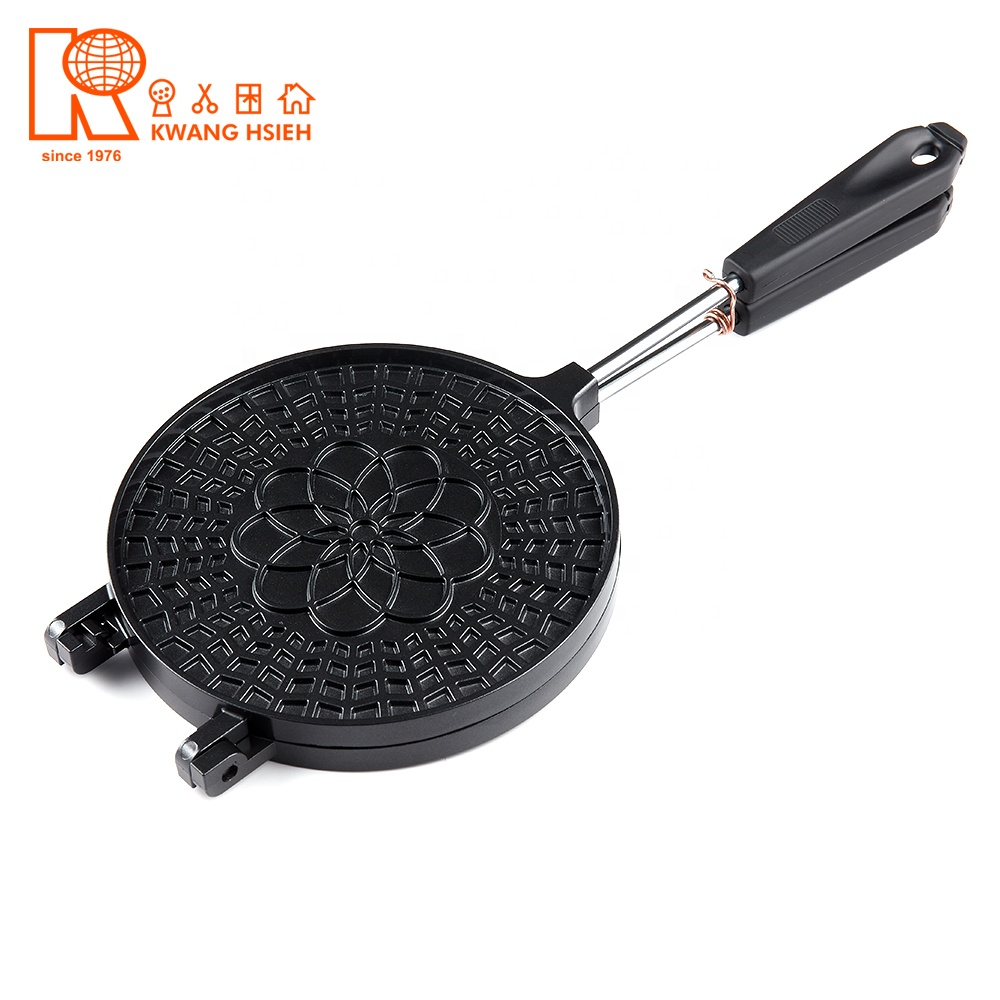 Kwang Hsieh Non-stick Flower Pattern Reversible Waffle Iron Cone Maker