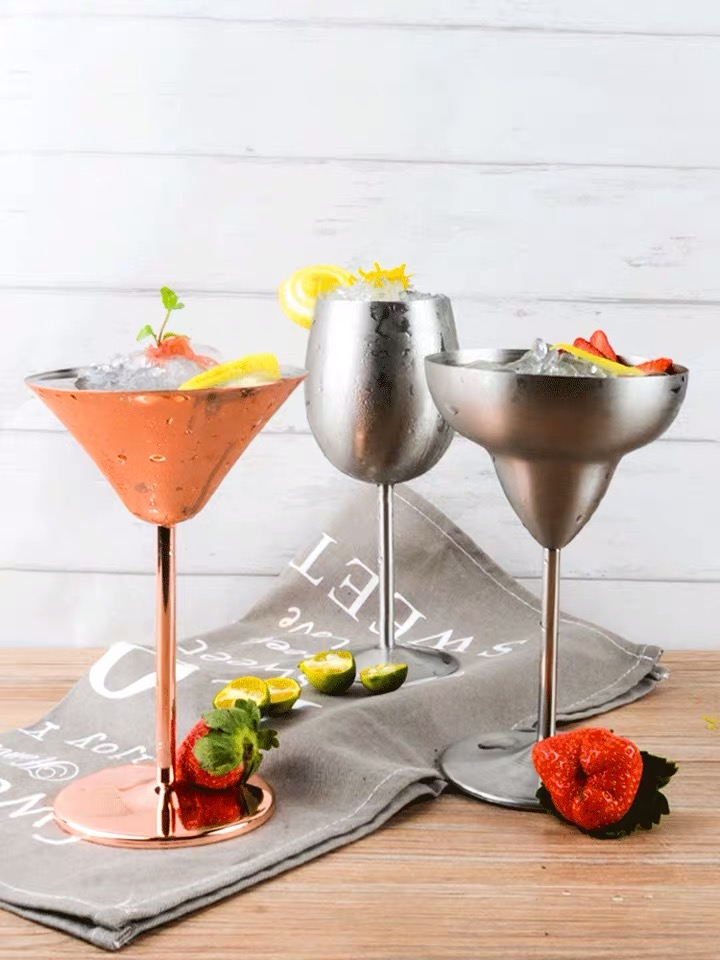 stainless steel silver cocktail martini Champagne Coupe copper glass cup