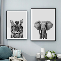 modern animal wall art black and white tiger canvas print african elephant decorative painting for living room