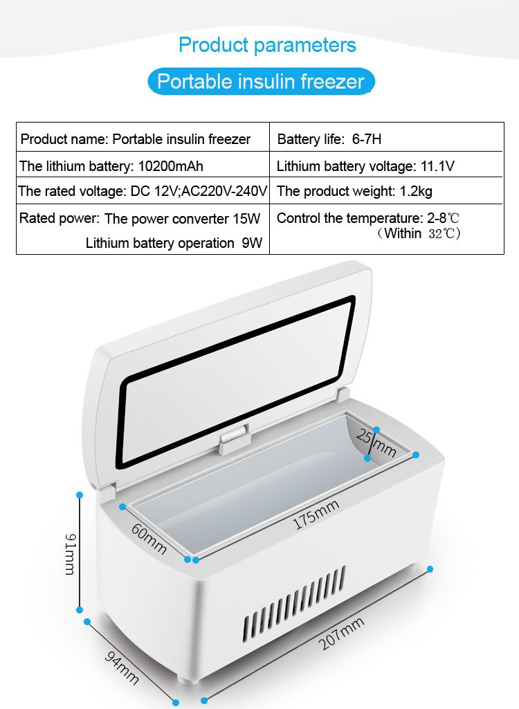 High quality DC 12V portable carry mini insulin fridge#