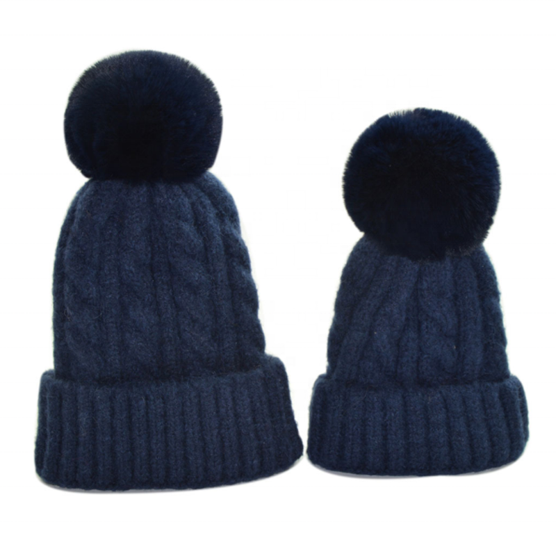 Womens Winter Hat Slouchy Warm Beanie Chenille Hats  Faux Fur Pom Pom Baggy Cap with Fleece Lined for Women