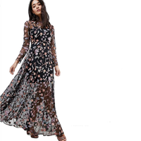 All Over Multi Coloured Floral Maxi Dress For Sexy and Fashion Women Prom Wear