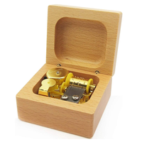 Mini 18 Note Wind-up Beech Wooden Music Box Tune:Happy Birthday with Gold-Plated Movement