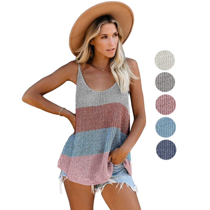 Custom OEM Ladies Casual Color Block Solid Knitted Cami <strong>Women</strong> <strong>Tank</strong> <strong>Tops</strong>