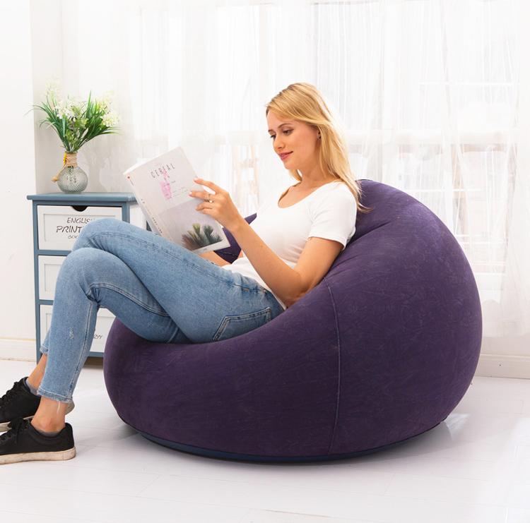 Stock PVC flocking Leisure sofa inflatable bean bag chair