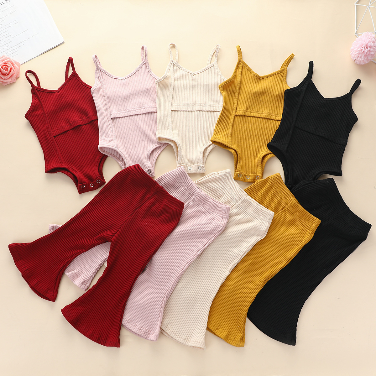 Fall Winter Baby girls clothing Knitted Solid color vest rompers + flared trousers pants 2pcs set kid girls clothing set