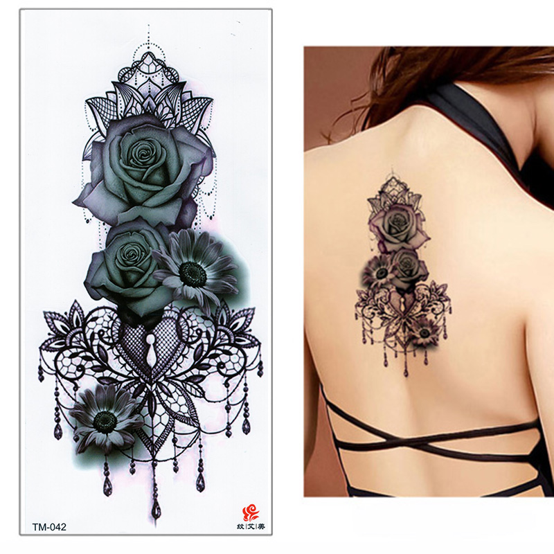 Colorful Sex Girl Sticker Lower Back Water Transfer Black Tattoo Sticker For Ladies