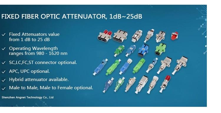 3 5 7 15 dB Male to Female Optical Attenuator LC UPC Fixed Fiber Optic Attenuator
