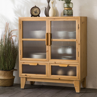 INNOVA Antique furniture Collect Storage Rustic Wooden accent Cabinet with glass doors