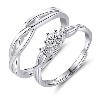 925 Sterling Silver Open Adjustable Knot Engagement Wedding Partner Band Ring