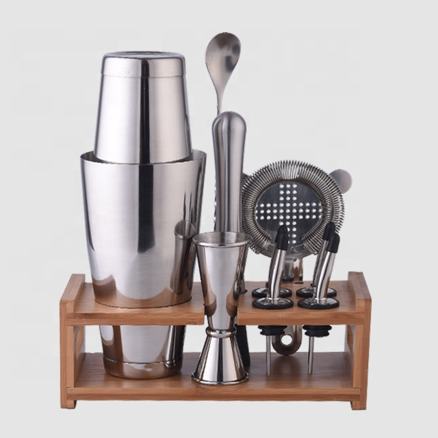 Factory Direct 28oz stainless steel professional bar set tools cocktail shaker bartender kit with stand