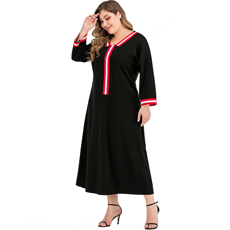 new design round neck long sleeve high waist women plus size dress