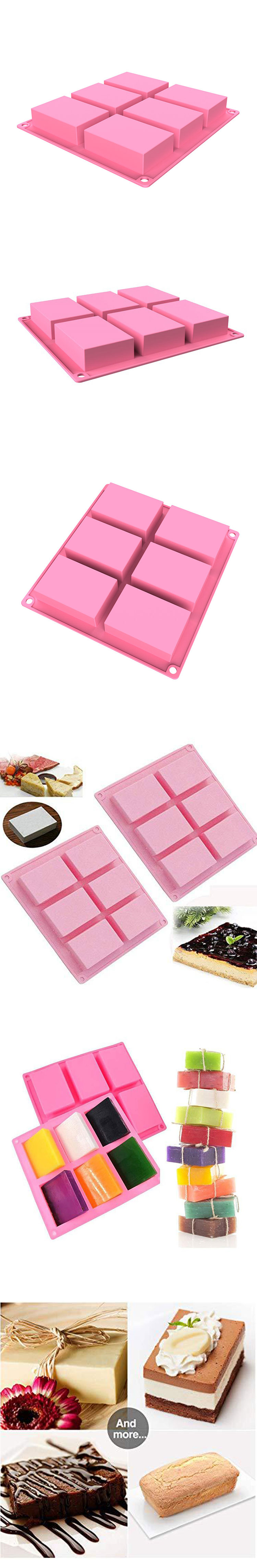 High quality design handmade large 6 cavity bar rectangle rectangular soap mould 6-cavity silicone soap mold