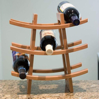 Small Wine Rack -Bamboo - Wine Storage for 9 Bottles