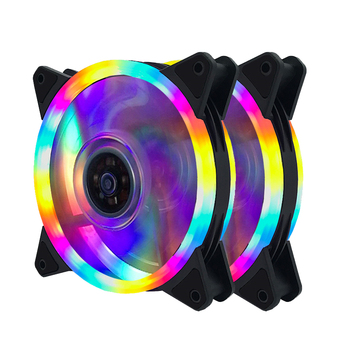 double ring led 4 color Case Cooling Fan 120mm 12cm 4pin male/female 3pin With LED Ring For Computer Water Cooler Color Fan
