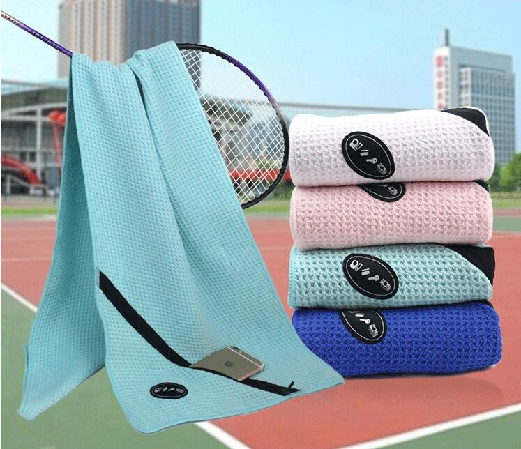 china wholesale supplier waffle gym towel pocket and zipper microfiber sports towel