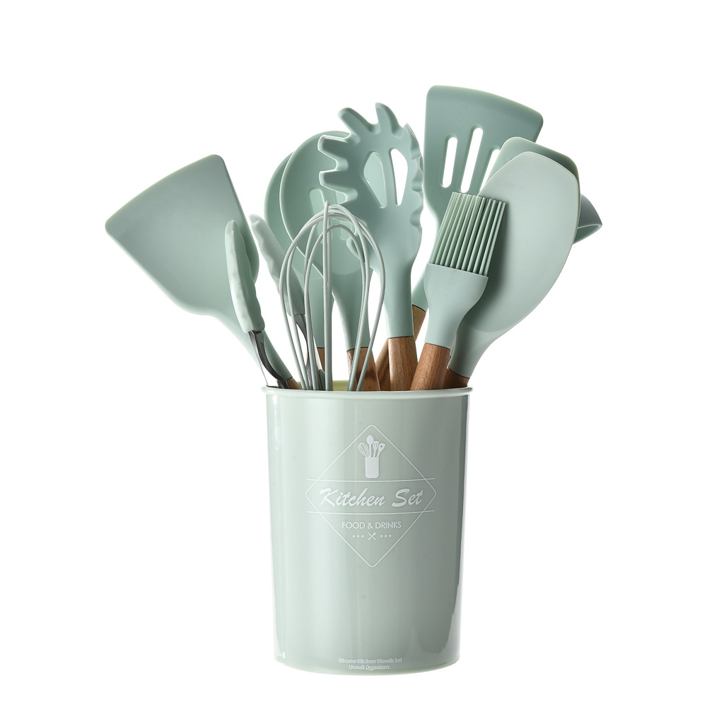 12 Pieces In 1 Set Kitchen Gadgets Tools Stand Kitchenware Spatula Silicone Cooking Utensils Set With Wooden Handles