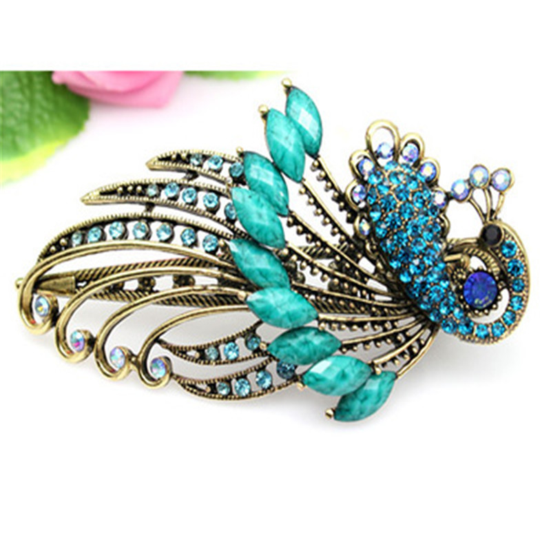 High Quality Bohemians Vintage Crystal Peafowl Hair Clip Phoenix Duck Beak Hairpin