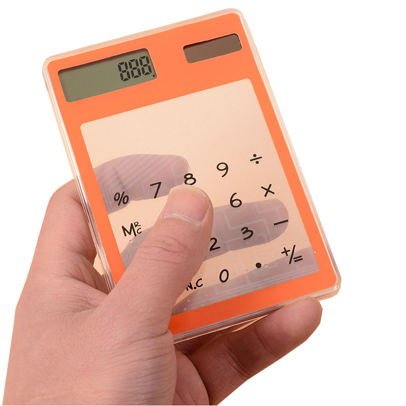 Mini custom logo pocket transparant calculator solar als promotie geschenken