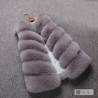 Fashion Women's Warm Long Faux Fox Fur Vest Waistcoat Sleeveless Winter Coat Fox Fur Jacket