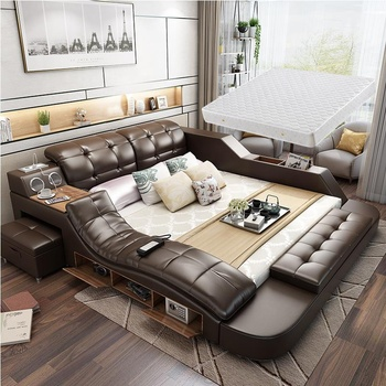 Modern Leather Bed Functions Storage King Queen Size Beds With Multi-media Speaker Massage Chair Bedroom Furniture