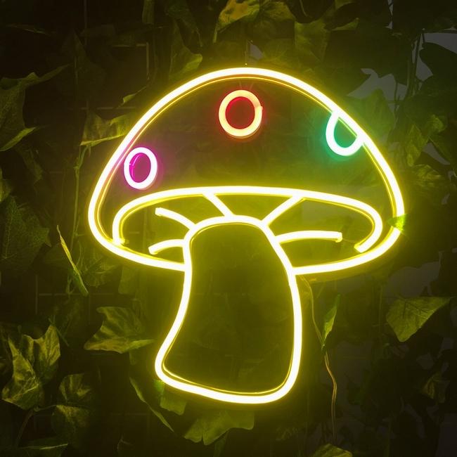 acrylic backboard flexible customized  led neon mushroom sign decor light