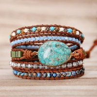 2019 New Arrival Fashion Bracelet Accessories Natural Stones 5 Layers Leather Bracelet for Women Men's Wrap Bracelets Jewelry
