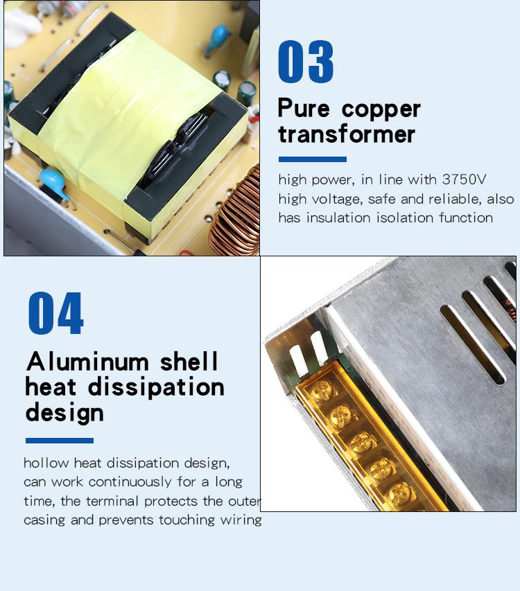 Hoge Kwaliteit Aluminium Shell 12V 20A Led Voeding 240W 24V 10A Voeding