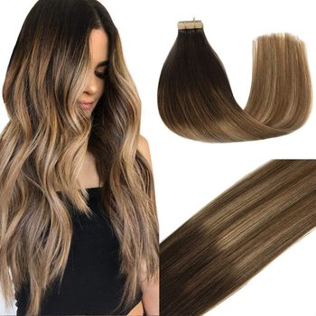 Top Quality Virgin Tape Hair Extensions , Double Drawn Remy Human Tape Hair Extensions