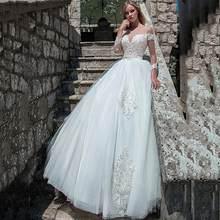 SoDigne бальное платье Свадебные платья Boho 2020 белые кружевные аппликации с длинным рукавом пляжные свадебные платья размера плюс vestido de noiva(Китай)