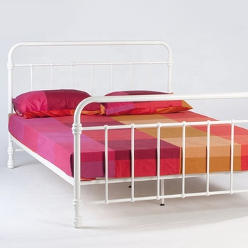 Manufacturer new design single double size white wrought iron metal beds frame
