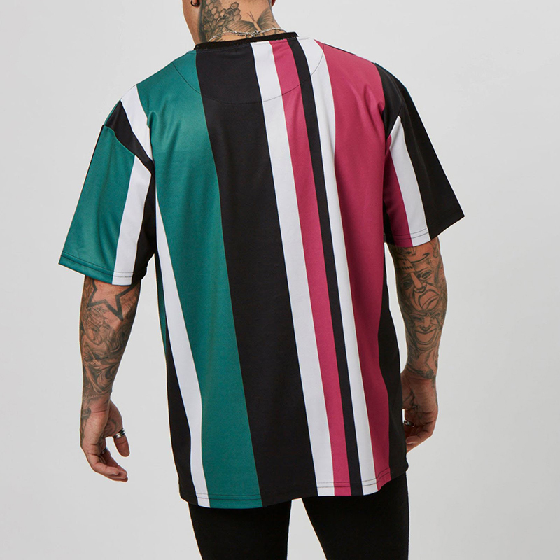 New Mens t shirt loose Hip hop Fitness color stripe gyms Bodybuilding Slim Shirts Men Short Sleeve workout male brand Tees Tops