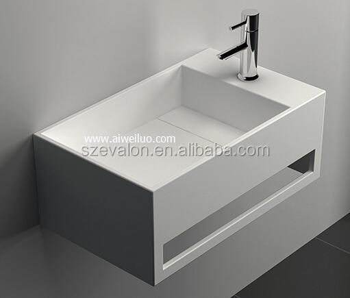 modern hotel  bathrooms wall hung acrylic solid surface wash basin,Artificial Stone Washing  sink