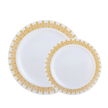 Custom size elegant round wedding party disposable restaurant plastic plates