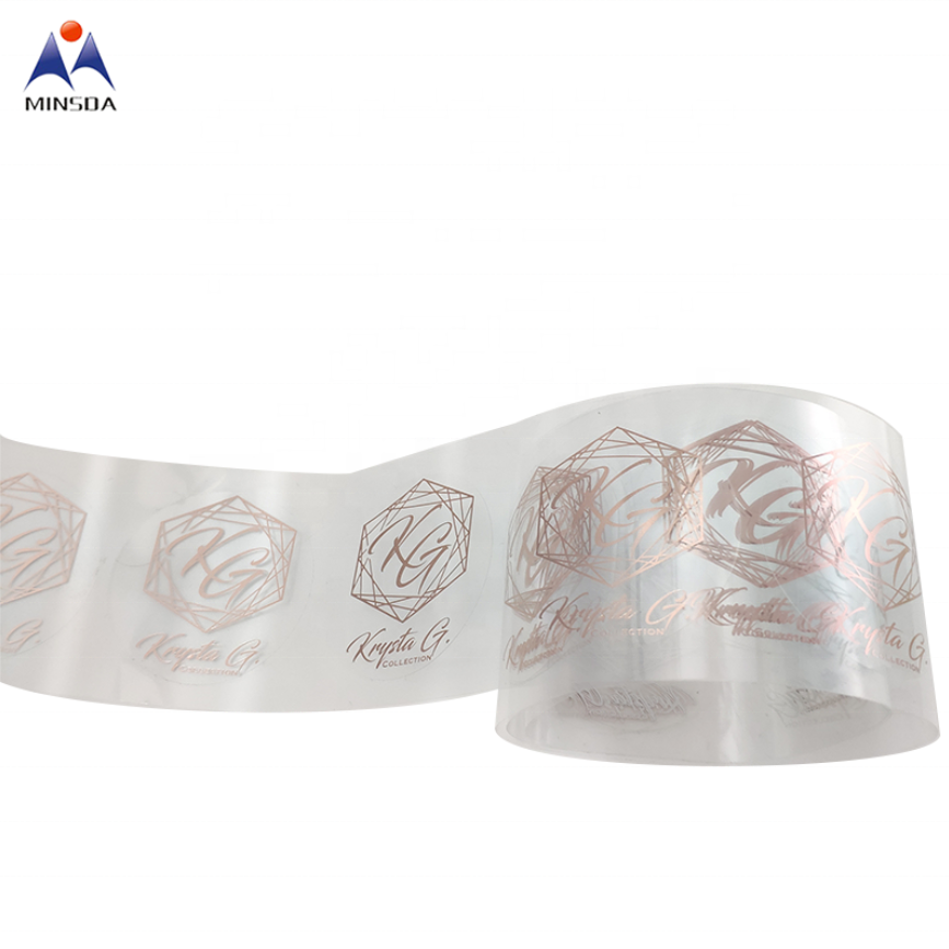Custom Printing Packaging Stickers Rose Gold Sticker Transparent Clear Rose Gold Logo