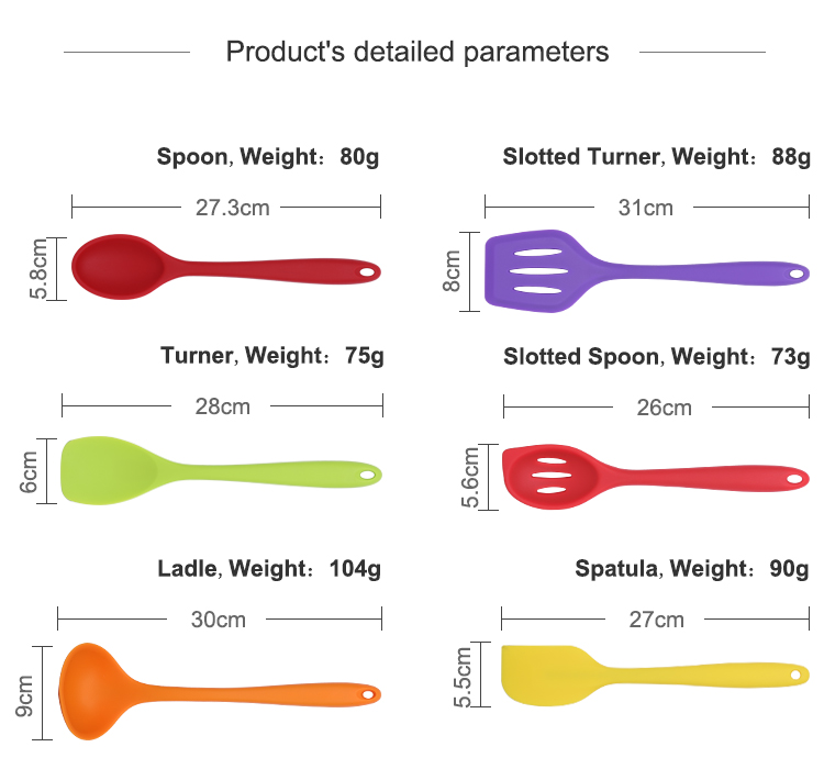 Custom Heat Resistant 10 PCS Colorful Kitchen Silicone Baking Tools Cooking Utensils Set