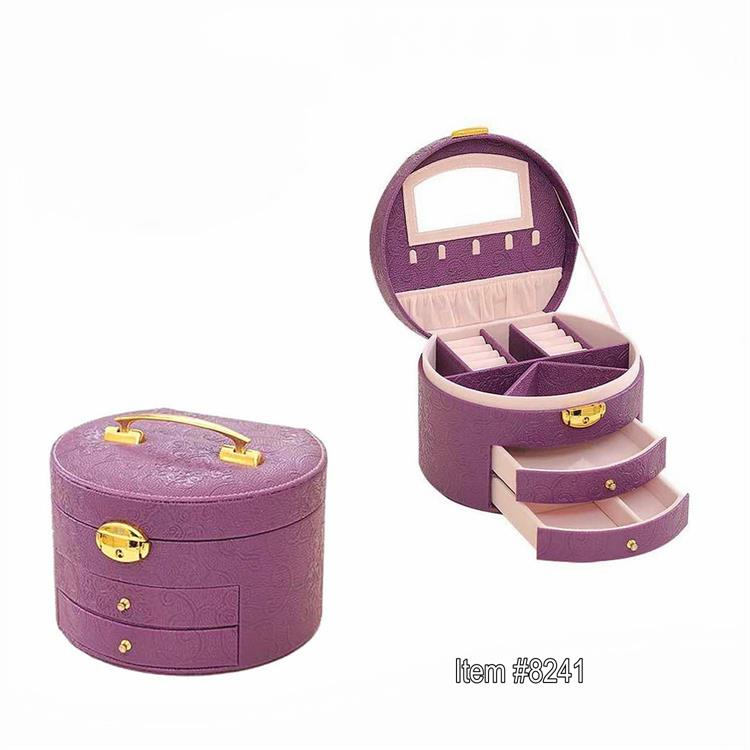 OEM round leather box with drawer for makeup box