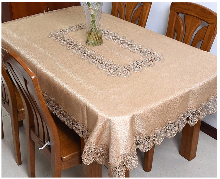 Wholesale Jacquard fabric embroidery tablecloth embroidered lace table cloth for decoration