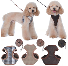 Verstellbare Weiche Baumwolle Plaid Muster Hund Harness <span class=keywords><strong>Weste</strong></span> Custom Pet Hund Harness <span class=keywords><strong>Weste</strong></span> <span class=keywords><strong>Leine</strong></span>