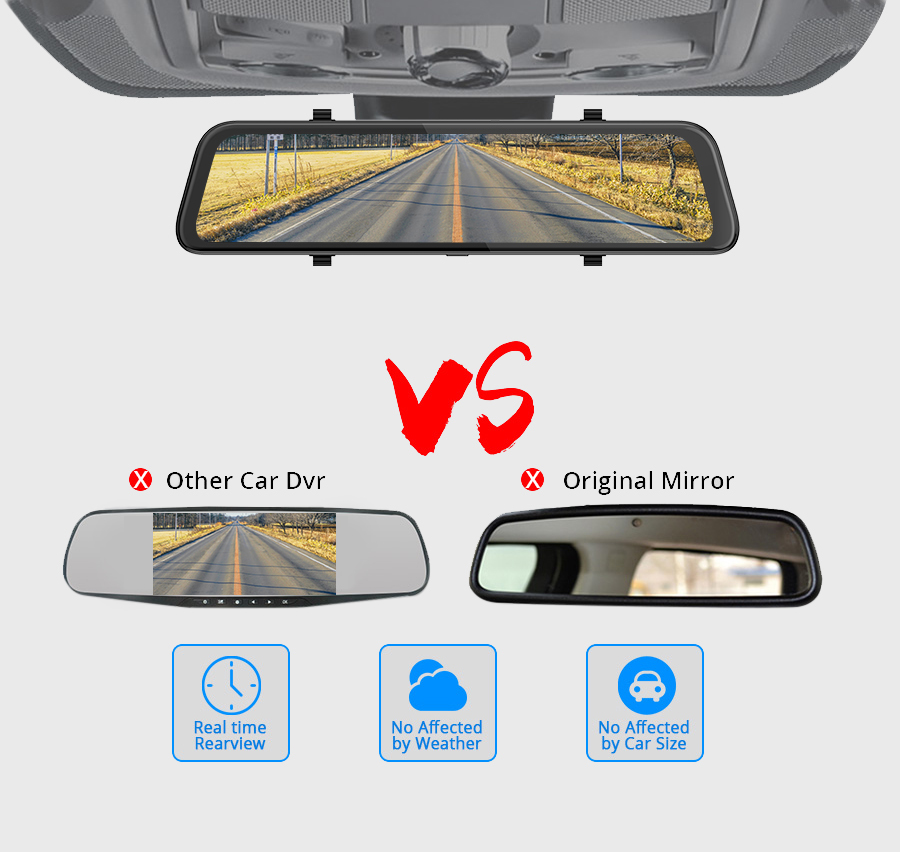 12 Inch Touch IPS  Dashcam Dual Lens Car DVR Camera Video Recorder G-sensor Loop recording With Rear View Mirror