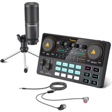 MAONOCASTER Professional Condenser Recording Studio Desktop Tripod Microphone With Sound Card and Headphone for Laptop Phones