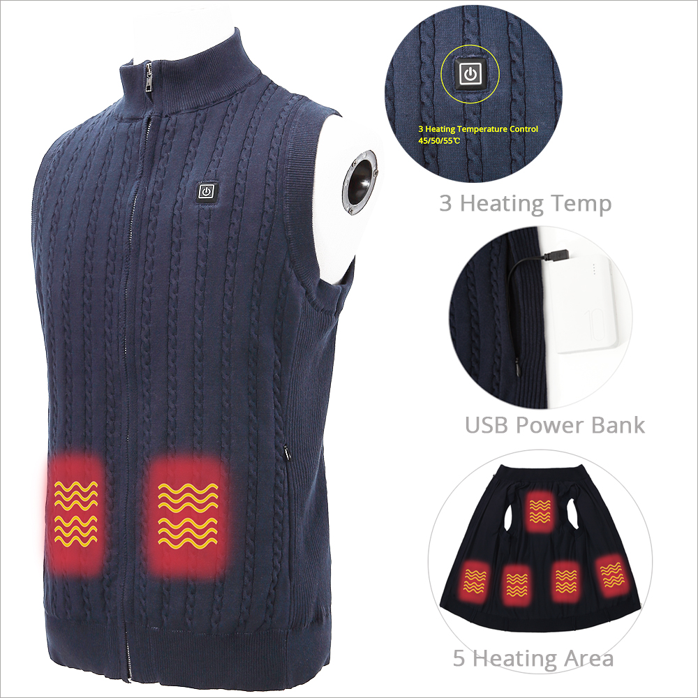 5V 7.4V Crewneck Fleece Cashmere Knit Battery Powered Heated Sweater with Pocket
