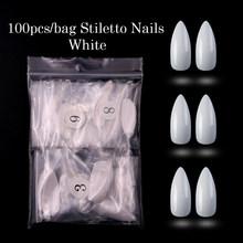Искусственные ногти, 100 шт., Опп-пакет, белые/натуральные/прозрачные длинные шпильки, ногти в виде гроба, балерины, акриловые накладные ногти ...(Китай)
