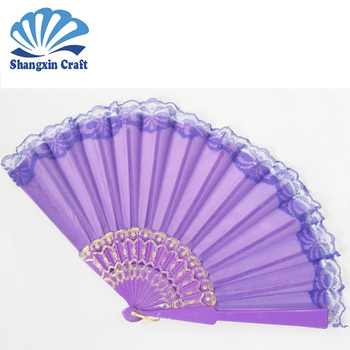 High quality Custom silk cloth antique cloth plastic hand fan