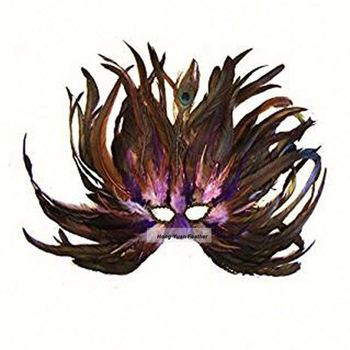 Flame Blueberry Masquerade Mardi Gras Halloween Feather Venetian Mask Wholesale