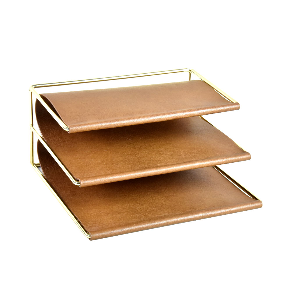 New Design High Quality Brown Top Faux Leather Magazine Rack Holder